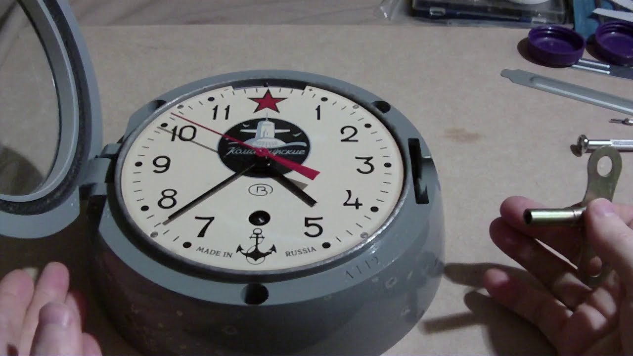 russian submarine clock how to take out movement and assemble youtube. Black Bedroom Furniture Sets. Home Design Ideas