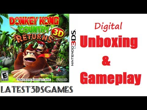 Donkey Kong Country Returns Nintendo 3DS Digital Unboxing & Gameplay