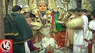 Priests Offers Laksha Pushparchana To Goddess Bhadrakali | Warangal