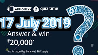 Amazon Quiz Answers Today  Win Rs. 20,000  17 July 2019