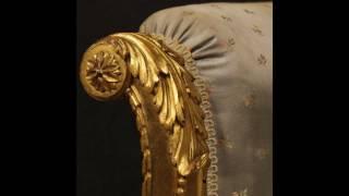 Poltrona francese dorata stile Luigi XVI dei primi del XX secolo