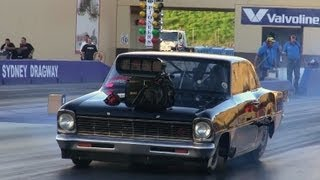 FRANK MAMONE MR 10.5 BLOWN V8 CHEVY NOVA RUNS 6.57 @ 224 MPH SYDNEY DRAGWAY 15.2.2013