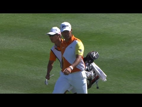 Hideki Matsuyama's incredible hole out for eagle at Accenture