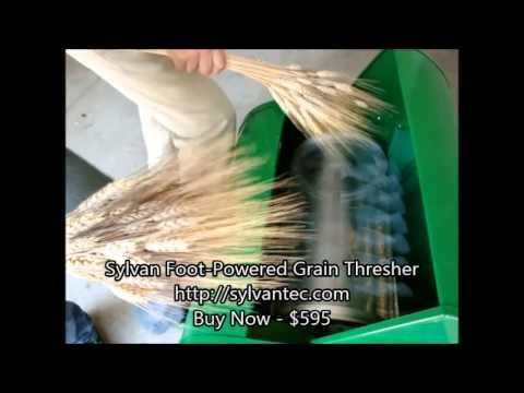 FOOT-POWERED GRAIN THRESHER