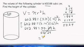 Find The Height Of A Cylinder When Given The Volume And Radius