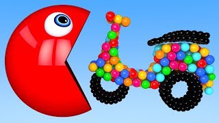Learn Colors with PACMAN and 3D Soccer Ball Vehicle for Kid Children