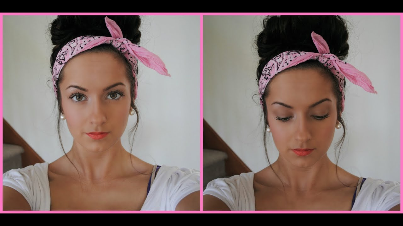 Quot Messy Quot Bun With Bandana Youtube