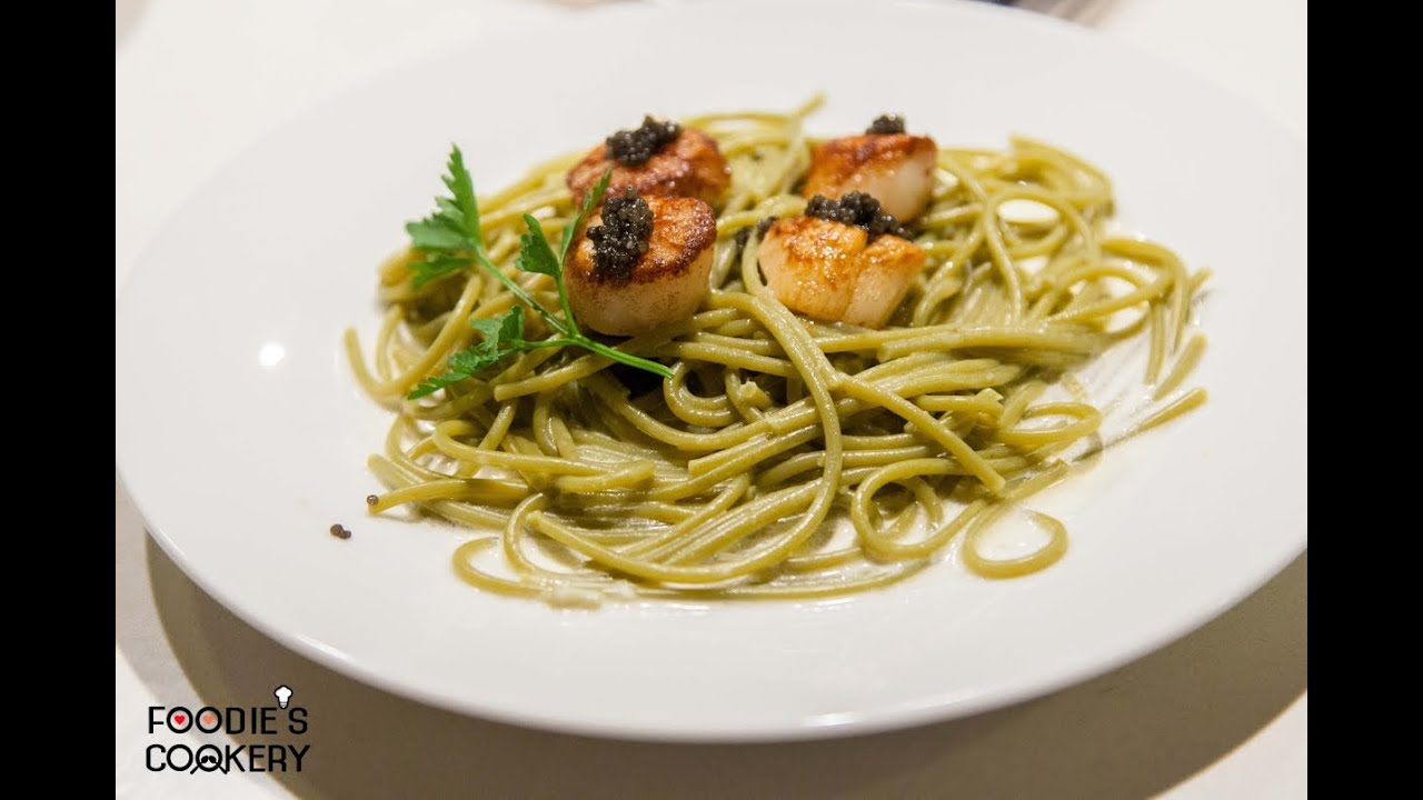 How to Make Spinach Pasta with Seared Scallops and Caviar - YouTube