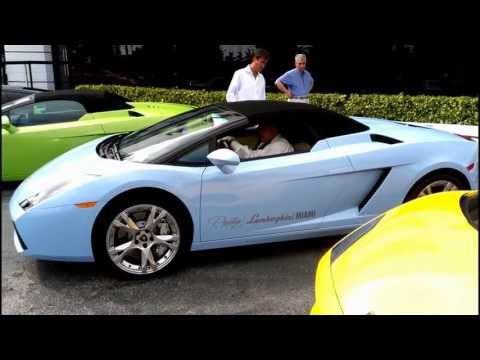 Sky Blue Lamborghini Gallardo Spyder  Acceleration, Engine Sound,