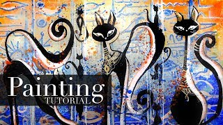 How to Paint Egyptian Cats & Hieroglyphs | Acrylic Painting Tutorial