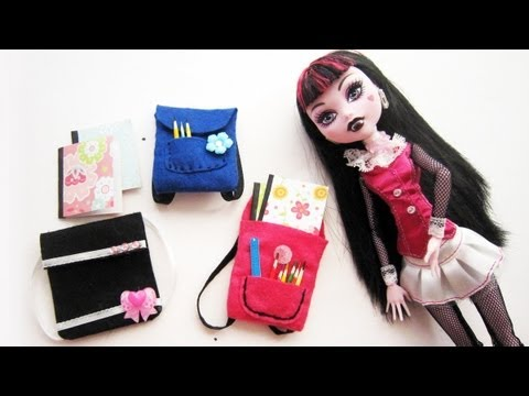 How to make doll school supplies part 2:  Backpacks or book-bags for monster high.  barbie. bratz