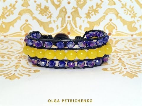 Materials: leather cord 60 cm 2 pieces, thread 4 m, 15 pieces beads 8 mm, 38 pieces crystals 6x8 mm ��би�ай�е HD ка�е��во. ��иве�! �ен� зов�� �л�га! �а...