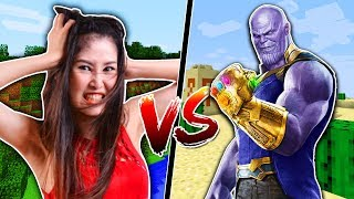 TROLLING MY LITTLE SISTER AS THANOS in Minecraft!