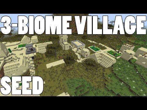 BEST Minecraft Village Seed! Triple Biome Village - Dungeon - Desert Temple - Diamonds!