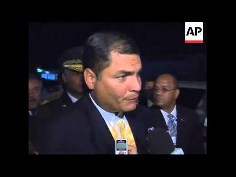 Chavez, Correa, Uribe arrive for regional summit, soundbites