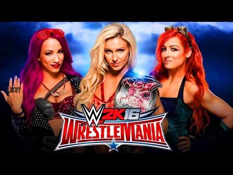 CHARLOTTE VS SASHA BANKS VS BECKY LYNCH WRESTLEMANIA 32 !!! WWE 2K16   MrWikky92