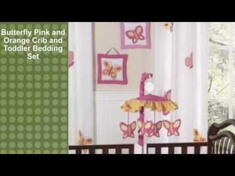 0 Butterfly Pink and Orange Crib and Toddler Bedding Set