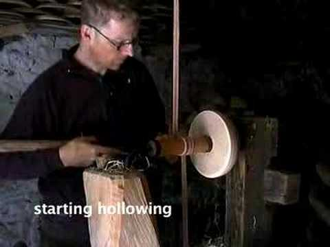 turning a bowl on a foot-powered lathe