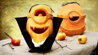 Как сделать миньона из тыквы на Хэллоуин?