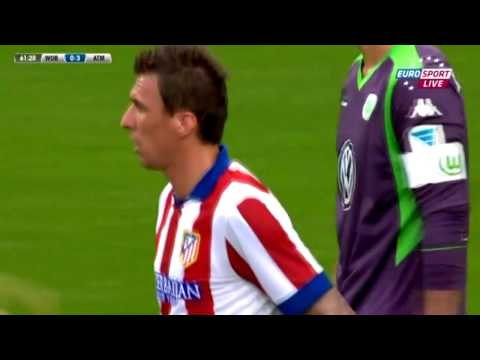 Mario Mandzukic First Goal for Atletico Madrid | Wolfsburg vs Atlético de Madrid 1-5 - 2014