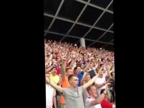 England fans national anthem in Ljubljana 14.06.2015