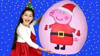 Peppa Pig Episodes - Santa visits Peppa 🎅  Peppa's Christmas Morning Opening Presents GIVEAWAY 🎁🎄