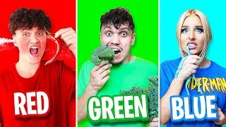 Eating Only ONE Color Food for 24 Hours! (Rainbow Food Challenge)