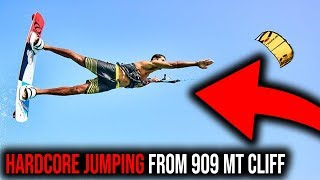 KITEBOARDING WORLD RECORD - EPIC JUMPING FROM 909 METERS CLIFF