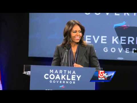 Michelle Obama attends rally for Martha Coakley