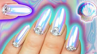 WHITE CHROME NAILS | Mermaid Unicorn Dust Iridescent Nail Art | Sea Shell Nail Swarovski & Pearl by : Natasha Lee