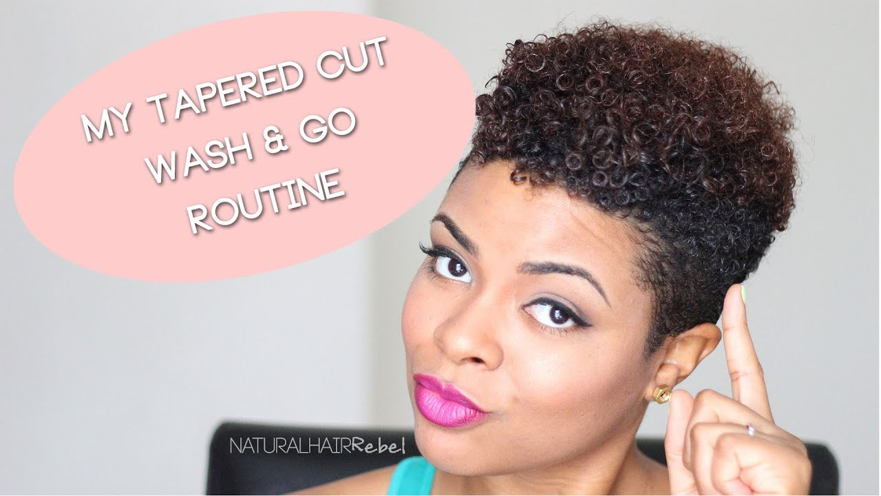 Natural Hair | Tapered Cut Wash & Go Routine - YouTube