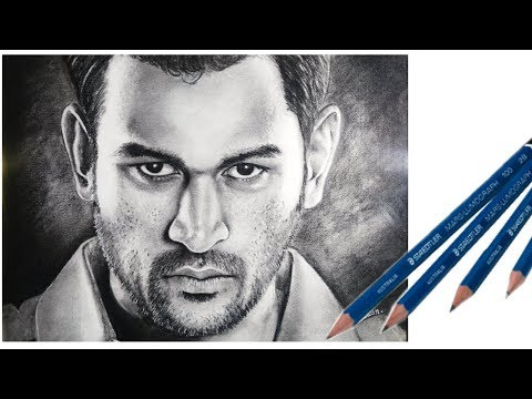 MS dhoni super realistic Drawing (8hr in 3min) // how to draw dhoni // pawannathart