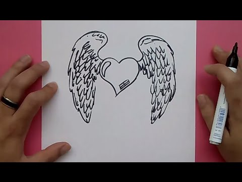 Como dibujar un corazon con alas paso a paso 3 How to draw a winged heart 3
