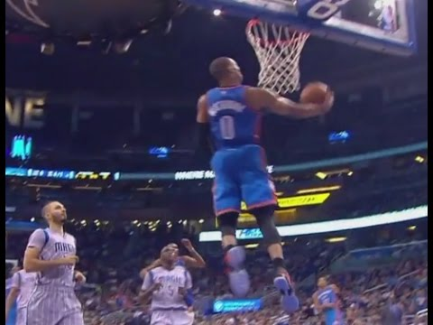 Russell Westbrook soars for reverse dunk: Oklahoma City Thunder at Orlando Magic