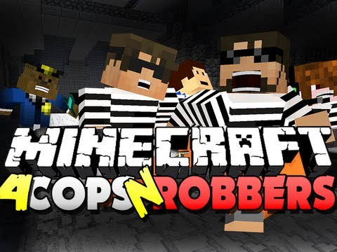 Minecraft Cops and Robbers 4 - NO CONTROL!! (SkyDoesMinecraft, Jerome and Friends)