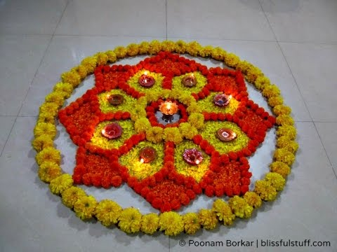 Flower Rangoli Designs  Onam Rangoli Designs with Flowers