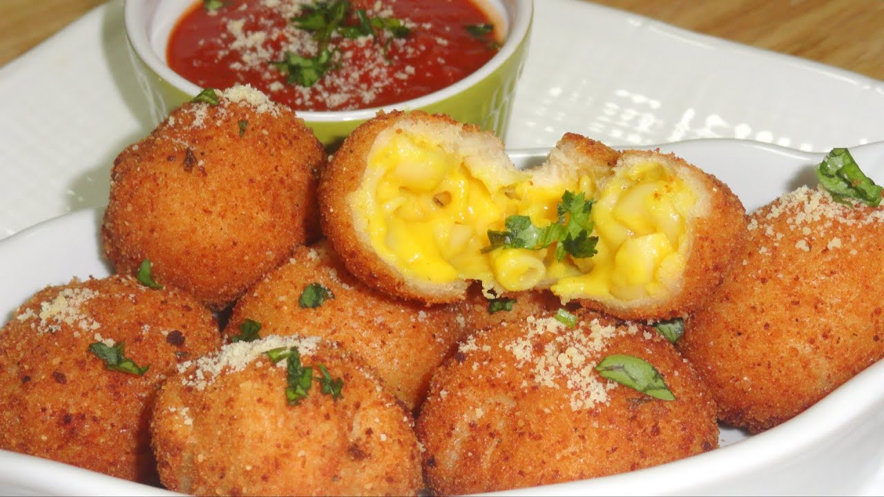 Fried Mac & Cheese Balls Pops or Baked & Eggless? Video recipe by ...