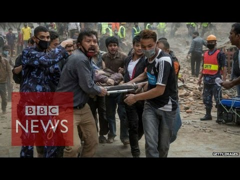 A powerful aftershock has hit the Kathmandu region of Nepal - where almost 2,000 people were killed by an earthquake yesterday. Officials say the number of dead is likely to rise as rescuers dig through the rubble of collapsed buildings and reach more remote areas. The BBC\'s Yogita Limaye was on her way to the remains of the Dharahara tower when the aftershock hit.  Subscribe to BBC News HERE http://bit.ly/1rbfUog Check out our website: http://www.bbc.com/news  Facebook: http://www.facebook.com/bbcworldnews  Twitter: http://www.twitter.com/bbcworld Instagram: http://instagram.com/bbcnews