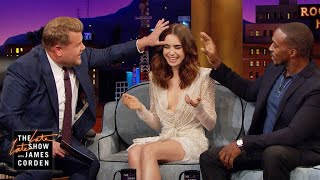 Lily Collins Gives Anthony Mackie & James Eyebrow Access