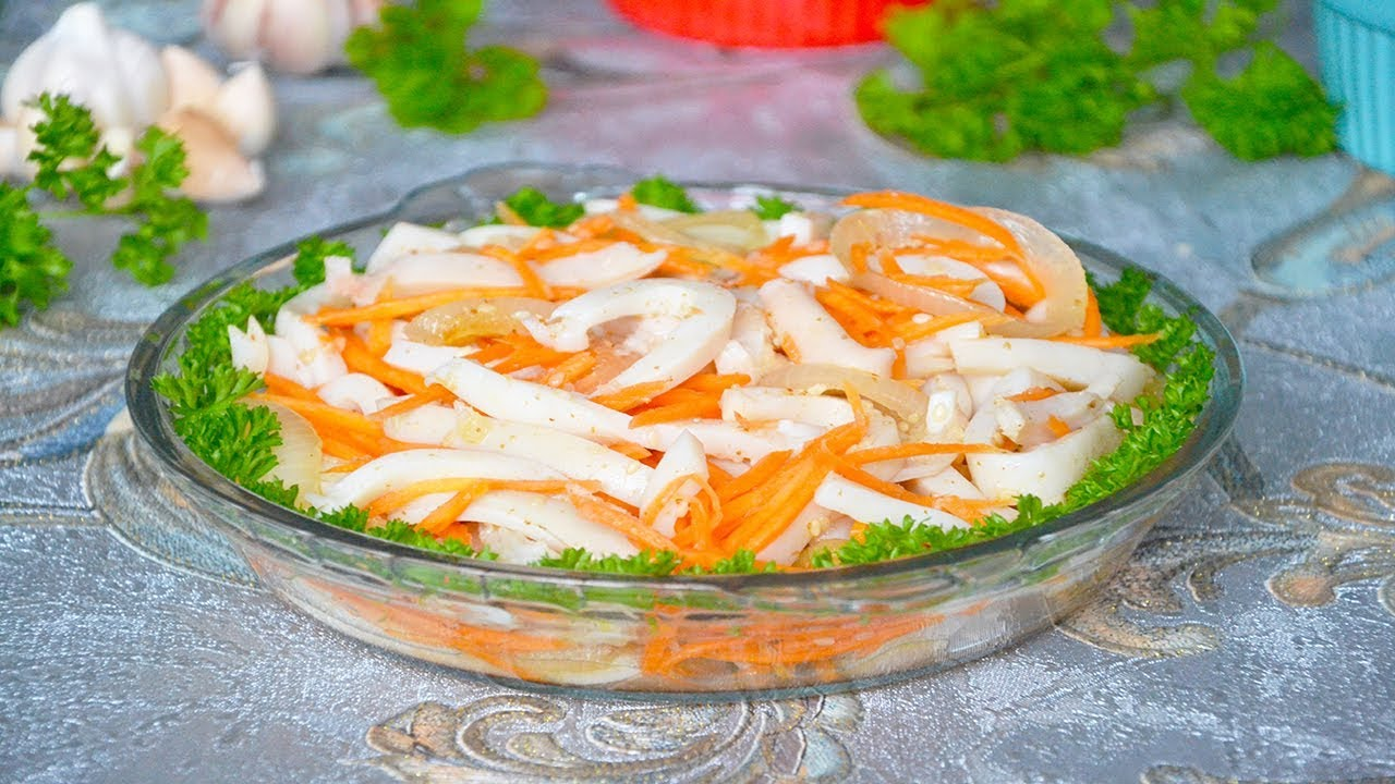 Морковь по-корейски с кальмарами в домашних условиях  684