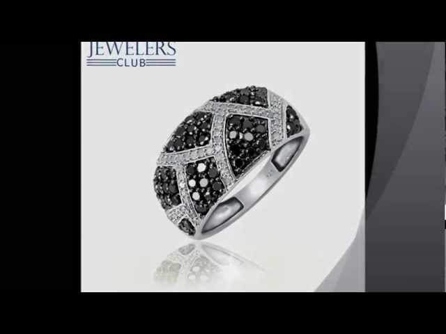 JewelersClub 1.00ctw Genuine Black & White Diamond Ring in Sterling silver