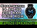 Relógio Smartphone Android 5.1 I4 Air 3G Smartwatch Gps Mp3 Wifi Amoled #40 Unboxing gearbest