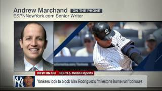 video Andrew Marchand discusses the report that the Yankees are devising legal arguments so Alex Rodriguez won't be able to collect any of the bonuses he is owed per the $30 million milestone home...