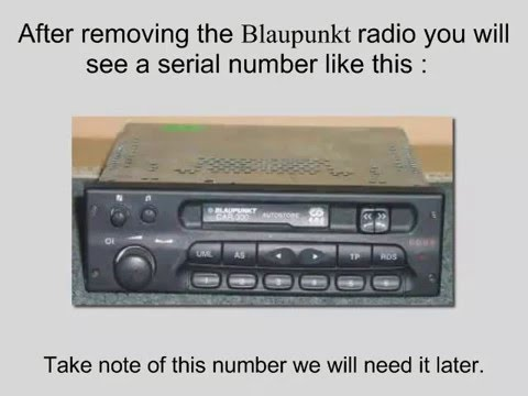 Blaupunkt Car 300 Radio Code