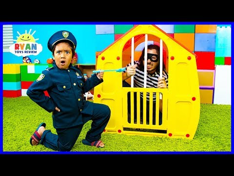 Ryan Pretend Play Police Officer helps find RC Toy Cars!!!!