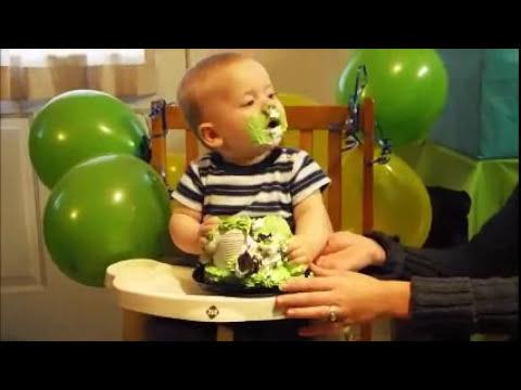 Bauer's 1st Birthday Cake Faceplant
