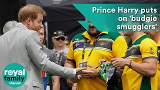 Prince Harry puts on 'budgie smugglers' gifted by Invictus athletes