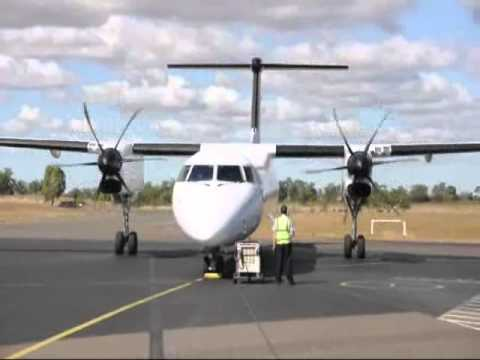 A Qantas QantasLink Sunstate Airlines Dash-8-Q400 VH-QOT showing engine start and then take off at Emerald Airport. CQ Plane Spotting (http://cqplanespotting...