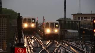 MTA NYC Subway A train & R46 train (not in service) at Rockaway Blvd