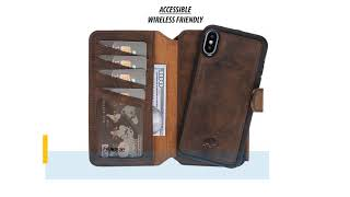 iPhone X/XS Leather Case by Burkley Bi-Fold Detachable Leather Wallet Case
